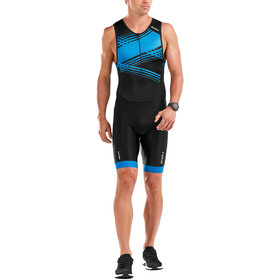 2XU Perform Front Zip Trisuit Herren black/signal blue print